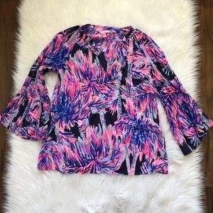 Lilly Pulitzer Matilda Silk Top Bright Navy Palms